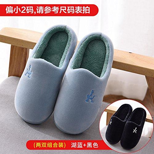 Fankou autunno e inverno pantofole di cotone femmina calda coperta a metà pack con il giovane piano casa pantofole di cotone Blau + Dunkelblau