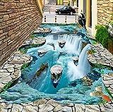 Rureng Fototapete 3D Stereo Cliff Wasserfälle Bodenfliesen Aufkleber Außen Badezimmer Wohnzimmer Flure Pvc Tragen Wasserdichte Wandmalereien
