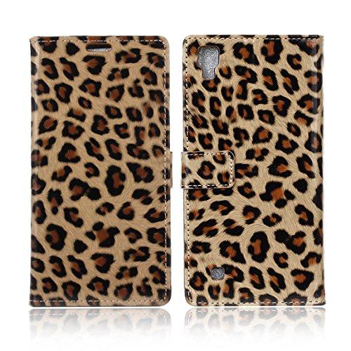 Voguecase® Per LG X Power, (Leopard giallo) Elegante borsa in pelle Custodia finestra Case Cover (Leopard Elegante)