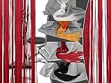 Filigraner Fadenvorhang - Wohndekoration in modernem Design - eleganter Store in 4 verschiedenen Unifarben - mit einer Stoffbreite von ca. 90 cm und einer Stoffhöhe von 220 cm, rot