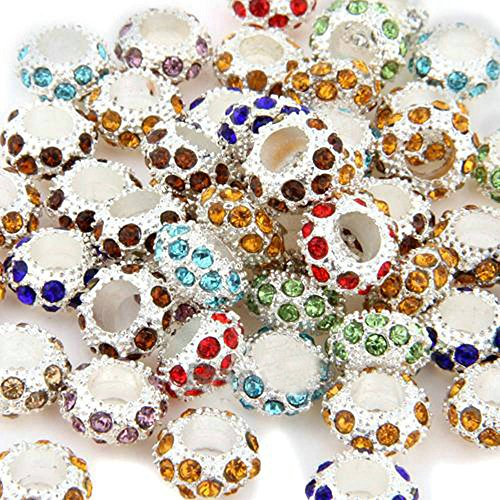 50pz CHARMS PERLINE PERLE BRILLANTINI A COLORI DIVERSI