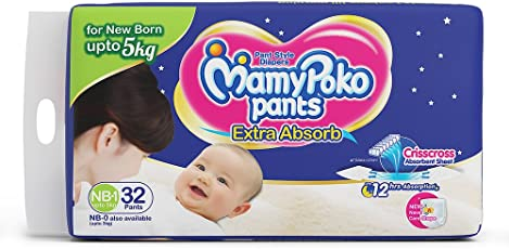 Mamypoko Extra Absorb Pants for 3 to 5kg of New Born, 1 Size (Pack of 32)