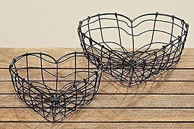 Drahtkorb in Herzform Drahtherz Shabby Herz Metall schwarz Dekokorb Metallkorb von HausderHerzen.de bei Du und dein Garten