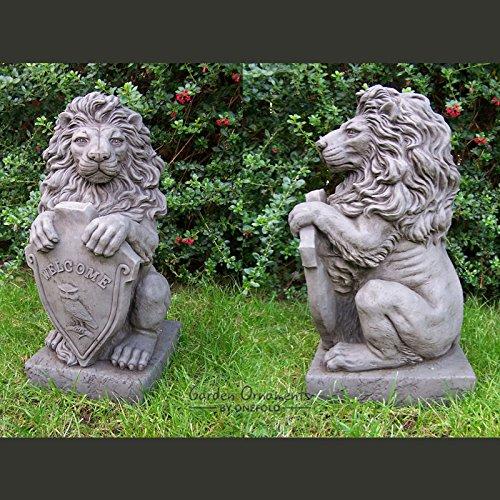 Garden Ornaments von onefold LS7großen Welcome Löwe Löwen Paar Stone Garden Statue, grau, 30x 25x - Outdoor-löwen-statuen