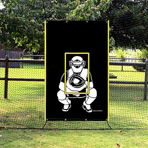 Vanta Sports Baseball Softball Heavy Vinyl 4x6 Backstop Net Saver mit Catcher Image und Pitching Zone Target Trainer -