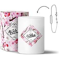 MY JOLIE CANDLE - Bougie parfumée avec Bijou Suprise à l'intérieur - Bijou : Bracelet en Argent - Parfum : Fleur de Cerisier - Cire Naturelle végétale - 330g - 70h Combustion