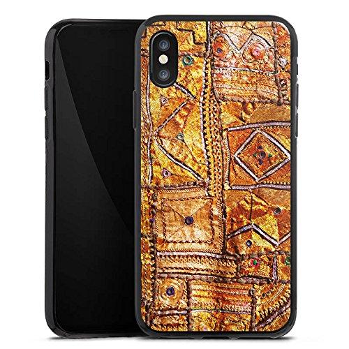 Apple iPhone X Silikon Hülle Case Schutzhülle Muster Gold Teppich Silikon Case schwarz