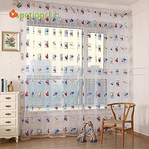 vyage (TM) 1* 2,7m cortinas para dormitorio bordado ventana Screening rústico cortinas para sala de estar cortina de ducha para niños habitación hh1423, Rod
