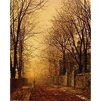 Pittura ad olio su tela tesa - 19 x 24 inches / 48 x 61 CM - John Atkinson Grimshaw - A Golden Beam - 24in I-beam
