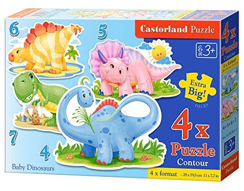 CASTORLAND Baby Dinosaurs 4/5/6/7 pcs 4pieza(s) - Rompecabezas (Contour Puzzle, Dibujos, Preescolar, 3 año(s), Niño/niña, 290 mm)