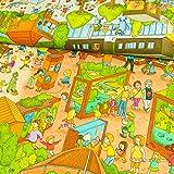 Baumwolljersey Digitaldruck Wimmelbuch auf dem Zoo
