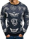 BOLF Sweatshirt Pullover ohne Kapuze Herren Motiv Madmext 1717 Dunkelblau XL [1A1]