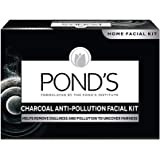 POND'S Charcoal Anti-pollution Home Facial Kit- With Cleanser, Scrub, Revitalizing cream, Massage Cream, Mask & Finishing Cr