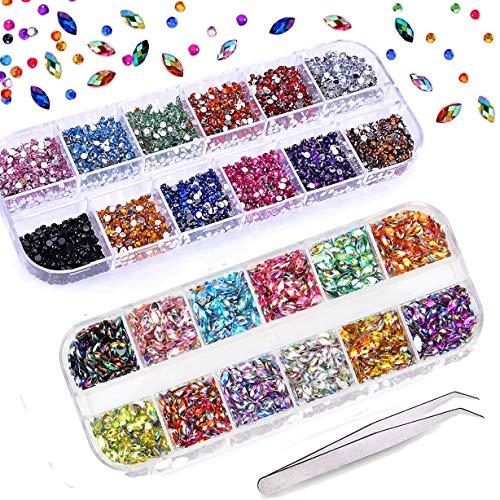 3000 Stücke (2 Boxen) Nail Art Strasssteine Kit mit 1 Pick Up Pinzette, Mwoot Multicolor Horse Eye Strasssteine und runde, flache schwarze Edelsteine für Nail Art Dekorationen -