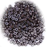 5mm Micro Rings Silicone Lined Beads Light Brown 500pcs/pack Micro Link Rings for Feather Hair & I Tip I Stick Pre Bonded Human Hair Extensions Installation
