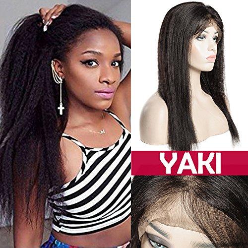 Parrucca donna capelli veri lace front nero naturale parrucche corte capelli umani ricci straight yaki wig remy human hair glueless brasiliani con baby hair 130% densità, 10