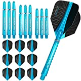 Harrows Retina - Flights and Shafts Combo Kit - 3 Sets (9) Standard Flights - 3 Sets Supergrip Shafts - Aqua Blue by Harrows