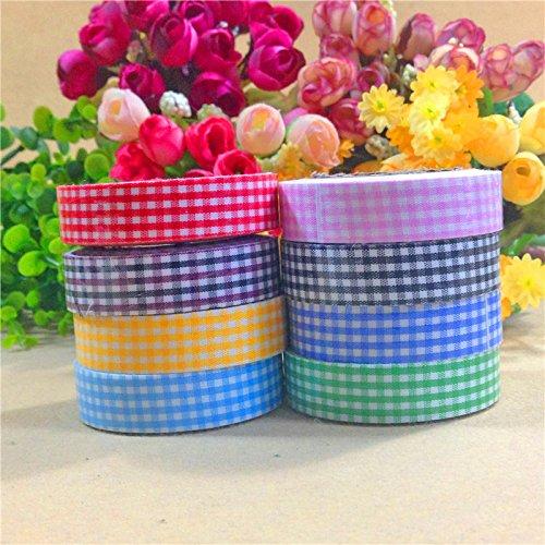 15mm Plaid Floriation Printing Fabric Washi Decorative DIY Tape Sticker by seguryy
