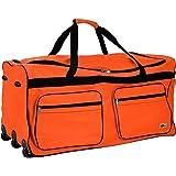 DEUBA XXL Reisetasche   mit Trolleyfunktion   Rollen mit Kugellager   Teleskopgriff   abschließbar 160 Liter in Orange Sporttasche Reisetrolley Gepäcktasche