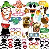 Coceca 60 accessoires Photo Booth Props photographiques accessoires du bricolage pour selfies adaptés aux soirées à thème hawaïen, fêtes d'anniversaire, mariages, graduations et jours fériés