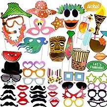 Coceca 60 Photo Booth Props Fotografie Requisiten, Selfie Requisiten DIY, für Hawaii-Thema Party, Geburtstagsparty, Hochzeitsfeier, Abschlussfeier und andere Feste
