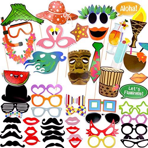 Coceca 60 Photo Booth Props Fotografie Requisiten, Selfie Requisiten DIY, für Hawaii-Thema Party, Geburtstagsparty, Hochzeitsfeier, Abschlussfeier und andere (Die Party Requisiten Für)