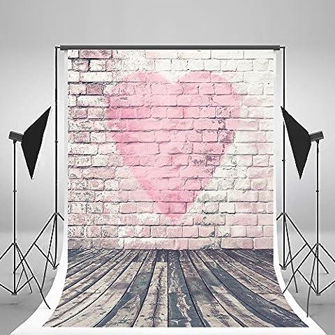 5x7ft weiß rosa Herz Brick Wand Verwitterte Holz Boden Fotografie Hintergrund faltenfrei für Baby Neugeborene Kinder Geburtstag Shoot in Studio