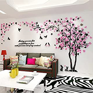 Alicemall 3D Wall Stickers Forest Wall Decal Black Rabbit Birds Easy to Install &Apply DIY Decor Sticker Home Decor (Large, Forest 6)