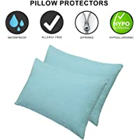 Dream Care Waterproof Pillow Protector, 18 x 28 inch, Set of 2, SkyBlue
