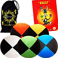 Pro Suede Juggle Balls - Juggling Balls set of 5 + Juggling Ball Book of Tricks & Travel Bag! by Flames 'N Games