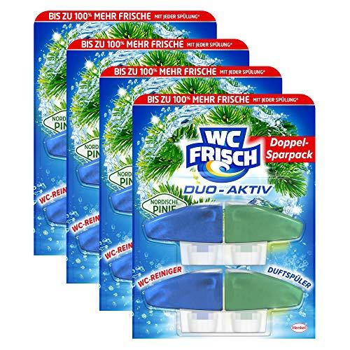 WC FRISCH Duo-Aktiv Nordische Pinie, WC-Reiniger und Duftspüler, Nachfüllpack, 4er Pack (4 x 2 Stück)
