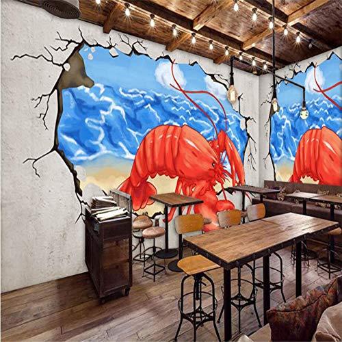 Benutzerdefinierte 3D Wallpaper Handgemalte Hummer Gebrochene Wand In Die Hot Pot Shop Hintergrund Wandmalereien Dekoration, 200 × 150 Cm