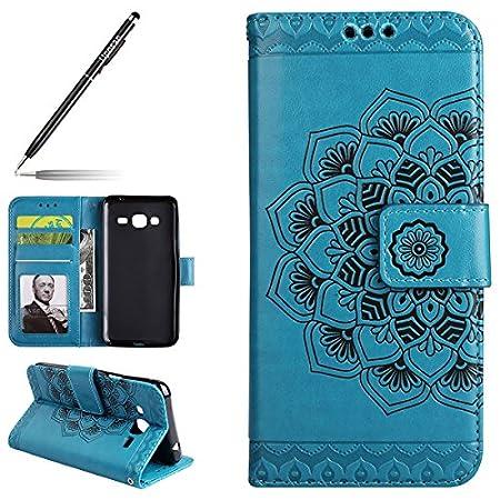 Uposao Kompatibel mit Samsung Galaxy J3 2015/2016 Handyhülle Leder Flip Hülle Leder Brieftasche Handytasche Ledertasche…