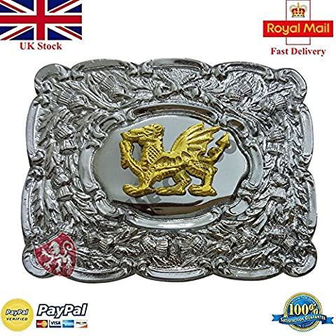 Scottish Thistle Kilt Belt Buckle Welsh Dragon Gold Finish/Irish Celtic Welsh Dragon Chrome Finsih