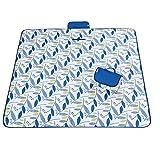 Picknickdecke 200 x 200 cm wasserdichte Camping decke mit Träger Reisedecke Stranddecke Matte Decke für Camping und Picknicks Fleece-Picknick-Decke (Blaue Blätter, 195×200CM)