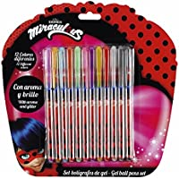 """Safta Set De 12 Bolígrafos De Colores Con Tinta De Gel Ladybug """"Marinette"""" Oficial"""