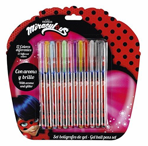 Safta Set De 12 Bolígrafos De Colores Con Tinta De Gel Ladybug «Marinette» Oficial