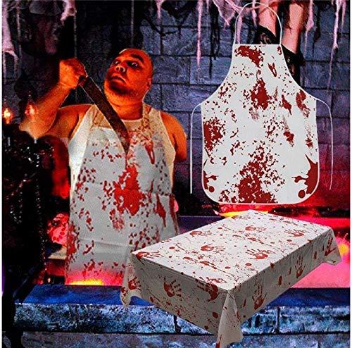Yirenfeng Horror Blood Handabdruck Blutige Schürzen Halloween Requisiten Spukhaus Kostüm Halloween Dekoration Horror ()