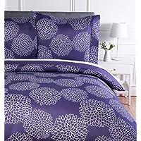 AmazonBasics Parure de lit avec housse de couette en microfibre, 200 x 200 cm, Violet (Purple Floral)