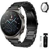 S-COLOR GT2 Pro Strap band Compatible with Huawei GT2 Pro, Stainless Steel Metal Strap For Huawei Watch Straps, 22mm(Black)