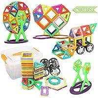 FUNTOK Blocchi Costruzioni Magnetici Set 158 pezzi, Educativi Kit DIY Giocattoli Blocchi Giocattolo Magnetico costruzione educativi in anticipo Giocattoli 3D puzzle per bambini