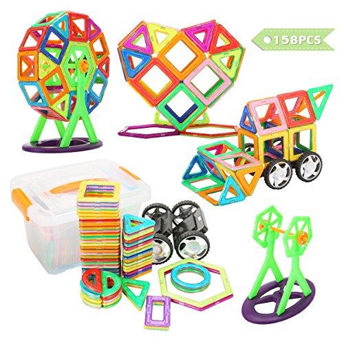 FUNTOK Magnetische Bausteine 158 PCS Magnetblöcke mit Bildungskarten Set Frühe Pädagogische Spielzeug Puzzle-Spiele für Vorschulkinder Jungen und Mädchen
