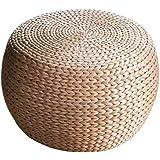 Ronde stro rotan weefsel poef primaire kleur kantoor en familie sofa bench wijn Ottomaanse voetenbank (Size : 32x32x22CM)