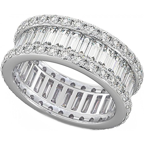 Ladies 925 Sterling Silver Baguette Cut Created Diamond CZ Full Eternity Wedding Ring T
