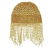 Cuffia da donna per danza del ventre con perline, accessorio per costume da danza, 46 cm (elastico)