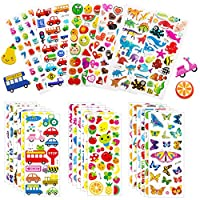 Puffy Stickers, 24 Sheets Self Adhesive 3D Stickers for Kids Toddlers Variety Pack Sheets for Scrapbooking Bullet Rewarding Card Making DIY Crafts - Including Animals, Numbers, Dinosaur, Vehicle and more