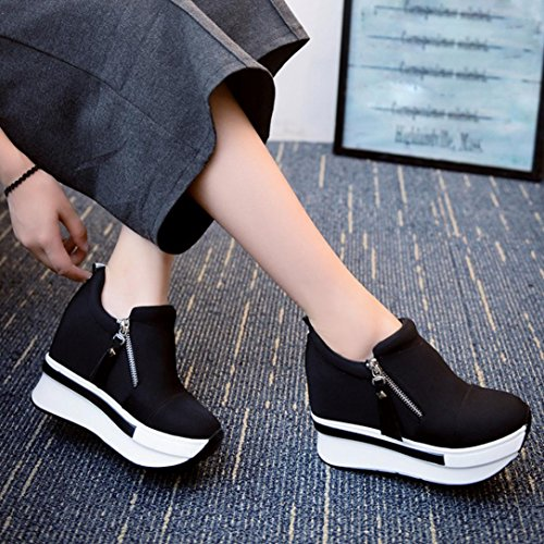 Casual Sneakers Shoes, Wedges Boots Platform Shoes Slip On Ankle Boots Fashion Casual Shoes – Unisex Gym Running Jogging Trainers Fitness Lightweight Shoes (2.5UK, Black)