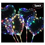 FOONEE Bobo Luftballons LED Herz/Stern Luftballons LED Leuchte bis Luftballons für Weihnachten/Hochzeit/Geburtstag Dekorationen (Bunt, 5Stück) Herz