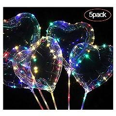 Idea Regalo - FOONEE Bobo palloncini LED cuore/Stella palloncini LED light up Balloons per Natale/matrimonio/festa di compleanno decorazioni (colorato,5pezzi) Heart