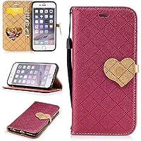 Para Apple iPhone 6/6S(4.7 Zoll) funda, (Amor rojo) El amor golpeó el color de cuero de la PU Leather cubierta ,Función de Soporte Billetera con Tapa para Tarjetas correa de mano soporte para teléfono